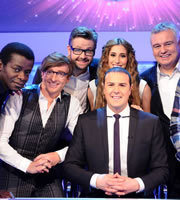 Mad Mad World. Image shows from L to R: Stephen K Amos, Rhys Darby, Rob Rouse, Stacey Solomon, Paddy McGuinness, Eamonn Holmes. Copyright: Roughcut Television.