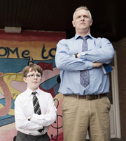 Man Down. Image shows from L to R: School Student (George Hill), Dan (Greg Davies). Copyright: Avalon Television.