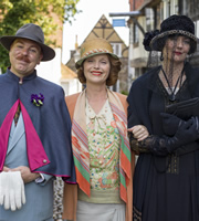 Mapp And Lucia. Image shows from L to R: Georgie Pillson (Steve Pemberton), Elizabeth Mapp (Miranda Richardson), Lucia Lucas (Anna Chancellor). Image credit: British Broadcasting Corporation.