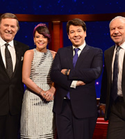 The Michael McIntyre Chat Show. Image shows from L to R: Terry Wogan, Lily Allen, Michael McIntyre, Alan Sugar. Copyright: Open Mike Productions.