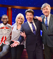 The Michael McIntyre Chat Show. Image shows from L to R: Tinie, Joanna Lumley, Michael McIntyre, Richard Madeley. Copyright: Open Mike Productions.