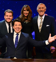The Michael McIntyre Chat Show. Image shows from L to R: James Corden, Michael McIntyre, Alex Jones, Bruce Forsyth. Copyright: Open Mike Productions.