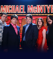 Michael McIntyre's Comedy Roadshow. Image shows from L to R: Jason Manford, Michael McIntyre, John Bishop, Sarah Millican, Mick Ferry. Copyright: Open Mike Productions.