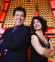 Michael McIntyre's Comedy Roadshow. Image shows from L to R: Michael McIntyre, Shappi Khorsandi. Copyright: Open Mike Productions.