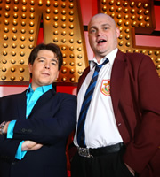 Michael McIntyre's Comedy Roadshow. Image shows from L to R: Michael McIntyre, Al Murray. Copyright: Open Mike Productions.