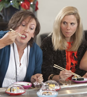 Miranda. Image shows from L to R: Miranda (Miranda Hart), Tilly (Sally Phillips). Copyright: BBC.