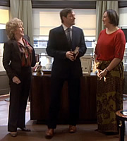 Miranda. Image shows from L to R: Penny (Patricia Hodge), Therapist (Mark Heap), Miranda (Miranda Hart). Copyright: BBC.