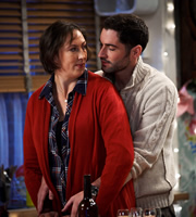 Miranda. Image shows from L to R: Miranda (Miranda Hart), Gary (Tom Ellis). Image credit: British Broadcasting Corporation.