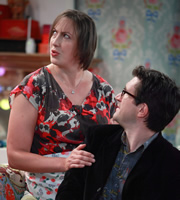 Miranda. Image shows from L to R: Miranda (Miranda Hart), Mike (Bo Poraj). Copyright: BBC.