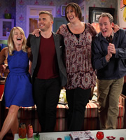 Miranda. Image shows from L to R: Stevie (Sarah Hadland), Gary Barlow, Miranda (Miranda Hart), Customer (Dominic Coleman). Image credit: British Broadcasting Corporation.