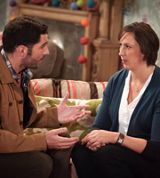 Miranda. Image shows from L to R: Gary (Tom Ellis), Miranda (Miranda Hart). Image credit: British Broadcasting Corporation.