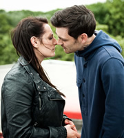 Misfits. Image shows from L to R: Kelly (Lauren Socha), Seth (Matthew McNulty). Copyright: Clerkenwell Films.