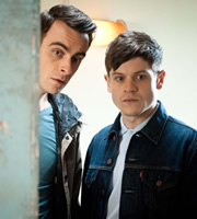 Misfits. Image shows from L to R: Rudy (Joseph Gilgun), Simon (Iwan Rheon). Copyright: Clerkenwell Films.