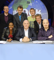 Mock The Week. Image shows from L to R: Frankie Boyle, Gina Yashere, Hugh Dennis, Dara O Briain, Russell Howard, Frank Skinner, Andy Parsons. Copyright: Angst Productions.