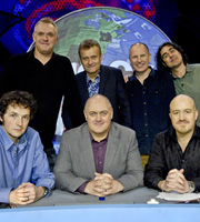 Mock The Week. Image shows from L to R: Chris Addison, Greg Davies, Hugh Dennis, Dara O Briain, Simon Evans, Micky Flanagan, Andy Parsons. Copyright: Angst Productions.