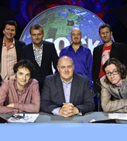 Mock The Week. Image shows from L to R: Stewart Francis, Chris Addison, Hugh Dennis, Dara O Briain, Andy Parsons, Adam Hills, Ed Byrne. Copyright: Angst Productions.