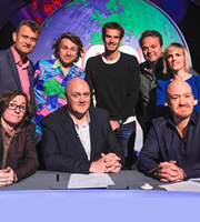 Mock The Week. Image shows from L to R: Ed Byrne, Hugh Dennis, Milton Jones, Dara O Briain, Andy Murray, Hal Cruttenden, Holly Walsh, Andy Parsons. Copyright: Angst Productions.