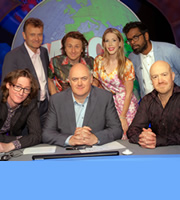 Mock The Week. Image shows from L to R: Ed Byrne, Hugh Dennis, Milton Jones, Dara O Briain, Katherine Ryan, Romesh Ranganathan, Andy Parsons. Copyright: Angst Productions.