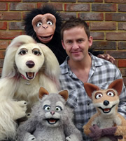 Mongrels. Image shows from L to R: Destiny, Monkey, Marion, Scott Mills, Nelson. Copyright: BBC.