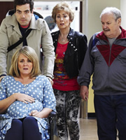 Mount Pleasant. Image shows from L to R: Lisa Johnson (Sally Lindsay), Robbie (Daniel Ings), Pauline Johnson (Paula Wilcox), Barry Harris (Bobby Ball). Copyright: Tiger Aspect Productions.