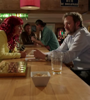 Mount Pleasant. Image shows from L to R: Bianca (Sian Reeves), Roger Jones (James Dreyfus). Copyright: Tiger Aspect Productions.