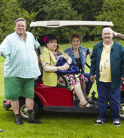 Mount Pleasant. Image shows from L to R: Uncle Terry (Ted Robbins), Auntie Margaret (Sue Vincent), Pauline Johnson (Paula Wilcox), Barry Harris (Bobby Ball). Copyright: Tiger Aspect Productions.