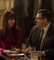Mr. Sloane. Image shows from L to R: Robin (Ophelia Lovibond), Mr Sloane (Nick Frost). Copyright: Whyaduck Productions / Big Talk Productions.