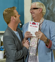 Mrs. Brown's Boys. Image shows from L to R: Dino Doyle (Gary Hollywood), Rory Brown (Rory Cowan). Copyright: BBC / BocPix.
