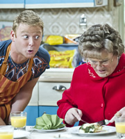 Mrs. Brown's Boys. Image shows from L to R: Dino Doyle (Gary Hollywood), Agnes Brown (Brendan O'Carroll). Copyright: BBC / BocPix.