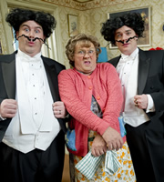 Mrs. Brown's Boys. Image shows from L to R: Dermot Brown (Paddy Houlihan), Agnes Brown (Brendan O'Carroll), Buster Brady (Danny O'Carroll). Copyright: BBC / BocPix.