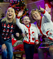 Mrs. Brown's Boys. Image shows from L to R: Cathy Brown (Jennifer Gibney), Bono Brown (Jamie O'Carroll), Agnes Brown (Brendan O'Carroll). Copyright: BBC / BocPix.