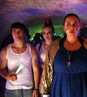 My Mad Fat Diary. Image shows from L to R: Finn (Nico Mirallegro), Chloe (Jodie Comer), Rae Earl (Sharon Rooney). Copyright: Tiger Aspect Productions.