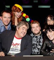 Never Mind The Buzzcocks. Image shows from L to R: Ben Miller, Paloma Faith, Phill Jupitus, James Corden, Noel Fielding, Janeane Garofalo. Copyright: TalkbackThames / BBC.
