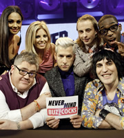 Never Mind The Buzzcocks. Image shows from L to R: Alesha Dixon, Phill Jupitus, Mollie King, Mark Ronson, Paul Foot, Noel Fielding, Tinie Tempah. Copyright: TalkbackThames / BBC.