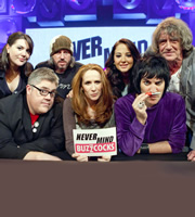 Never Mind The Buzzcocks. Image shows from L to R: Katy Wix, Phill Jupitus, Damon Gough, Catherine Tate, Tulisa Contostavlos, Noel Fielding, Howard Marks. Copyright: TalkbackThames / BBC.