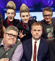 Never Mind The Buzzcocks. Image shows from L to R: Phill Jupitus, Jedward, Jedward, Jack Dee, Charlie Higson. Image credit: TalkbackThames.