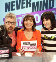 Never Mind The Buzzcocks. Image shows from L to R: Phill Jupitus, Lorraine Kelly, Noel Fielding. Copyright: TalkbackThames / BBC.