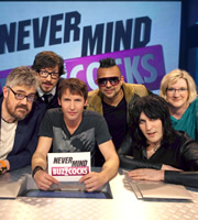 Never Mind The Buzzcocks. Image shows from L to R: Phill Jupitus, Matthew Crosby, James Blunt, Sean Paul, Noel Fielding, Sarah Millican. Copyright: TalkbackThames / BBC.