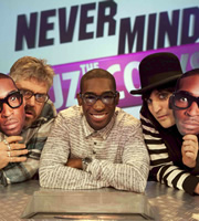Never Mind The Buzzcocks. Image shows from L to R: Phill Jupitus, Tinie, Noel Fielding. Copyright: TalkbackThames / BBC.
