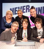 Never Mind The Buzzcocks. Image shows from L to R: Sarah Millican, Phill Jupitus, Fazer, Kathy Burke, Mark Hoppus, Noel Fielding. Copyright: TalkbackThames / BBC.