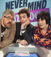 Never Mind The Buzzcocks. Image shows from L to R: Phill Jupitus, Nick Grimshaw, Noel Fielding. Copyright: TalkbackThames / BBC.