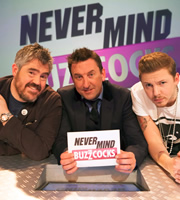 Never Mind The Buzzcocks. Image shows from L to R: Phill Jupitus, Lee Mack, Professor Green. Copyright: TalkbackThames / BBC.