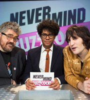 Never Mind The Buzzcocks. Image shows from L to R: Richard Ayoade, Phill Jupitus, Noel Fielding. Copyright: TalkbackThames / BBC.