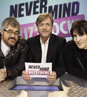 Never Mind The Buzzcocks. Image shows from L to R: Phill Jupitus, Richard Madeley, Noel Fielding. Copyright: TalkbackThames / BBC.