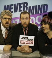 Never Mind The Buzzcocks. Image shows from L to R: Phill Jupitus, Alex Horne, Noel Fielding. Copyright: TalkbackThames / BBC.