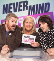 Never Mind The Buzzcocks. Image shows from L to R: Phill Jupitus, Liza Tarbuck, Noel Fielding. Copyright: TalkbackThames / BBC.