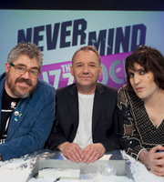 Never Mind The Buzzcocks. Image shows from L to R: Phill Jupitus, Bob Mortimer, Noel Fielding. Copyright: TalkbackThames / BBC.