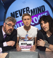 Never Mind The Buzzcocks. Image shows from L to R: Phill Jupitus, Russell Howard, Noel Fielding. Copyright: TalkbackThames / BBC.