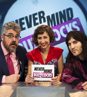 Never Mind The Buzzcocks. Image shows from L to R: Phill Jupitus, Kristen Schaal, Noel Fielding. Copyright: TalkbackThames / BBC.