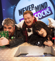 Never Mind The Buzzcocks. Image shows from L to R: Phill Jupitus, Johnny Vegas, Noel Fielding. Copyright: TalkbackThames / BBC.
